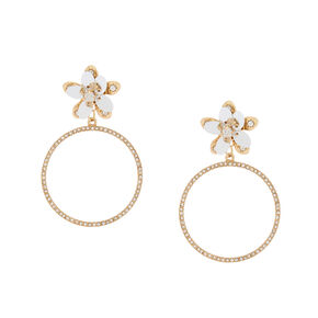 "Gold 2"" Sequin Flower Hoop Drop Earrings,"