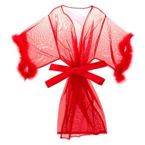 Fur Sheer Robe - Red,