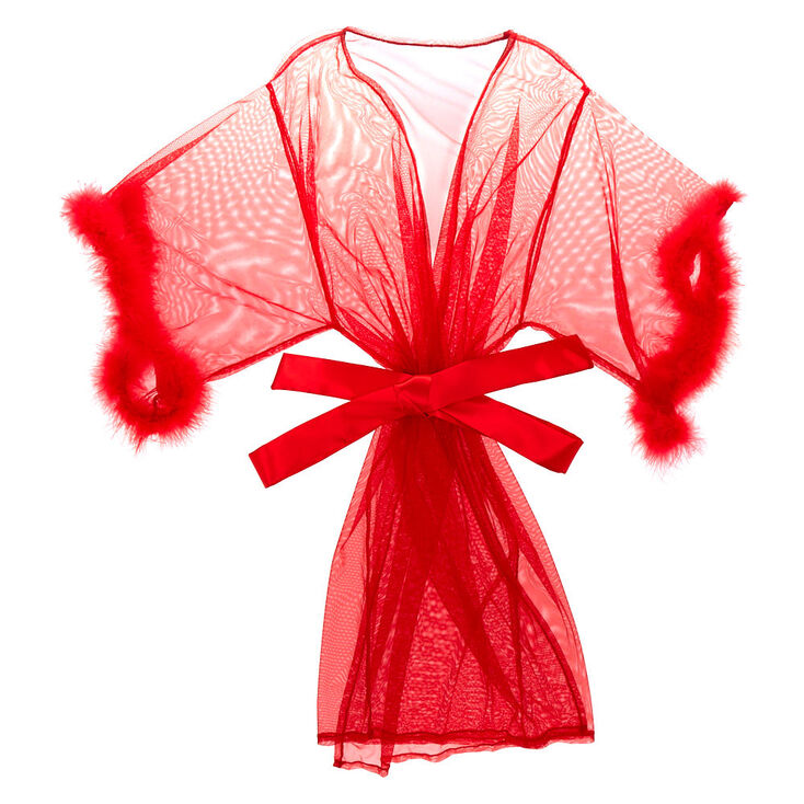 Fur Sheer Robe - Red,