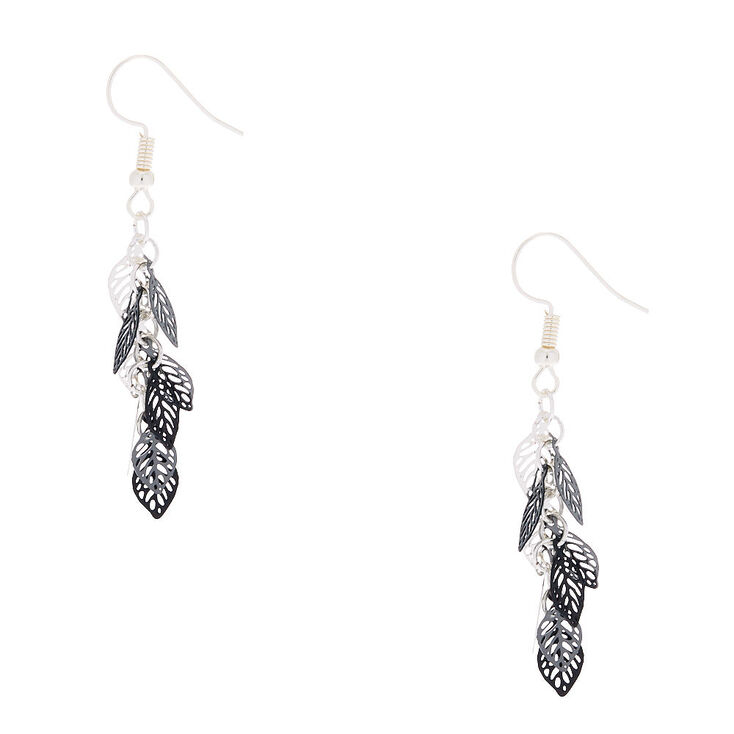 "Silver 1.5"" Mini Leaf Drop Earrings - Black,"
