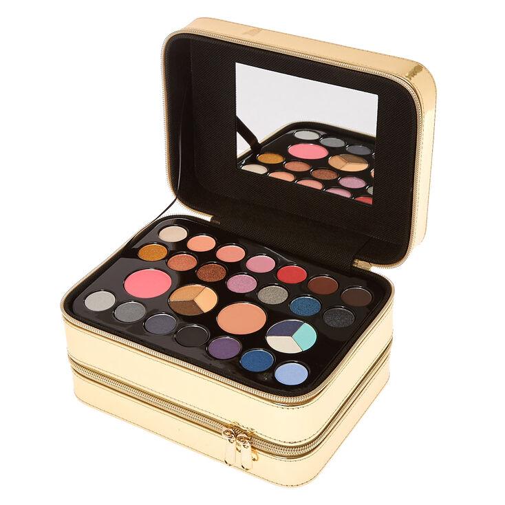 Metallic Gold Double Layered Makeup Case Set,