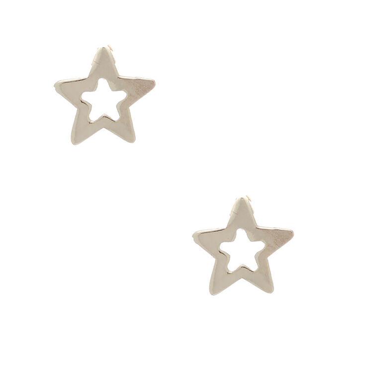 Sterling Silver Open Star Earrings,