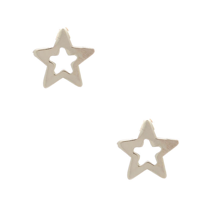 Sterling Silver Open Star Earrings,