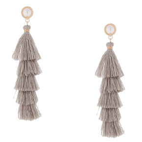 "2.5"" Tiered Tassel Drop Earrings - Gray,"