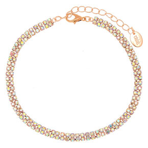 Rose Gold Iridescent Stoned Anklet,