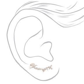 Silver Tone Cursive Strength Ear Crawlers,