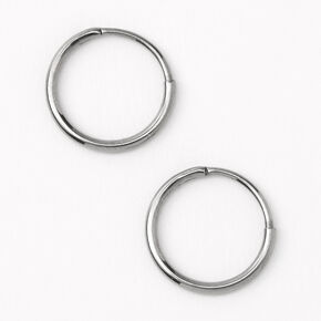 Silver Titanium 10MM Sleek Hoop Earrings,