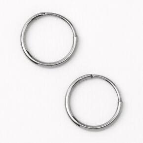 Silver Titanium 10MM Sleek Hoop Earrings,