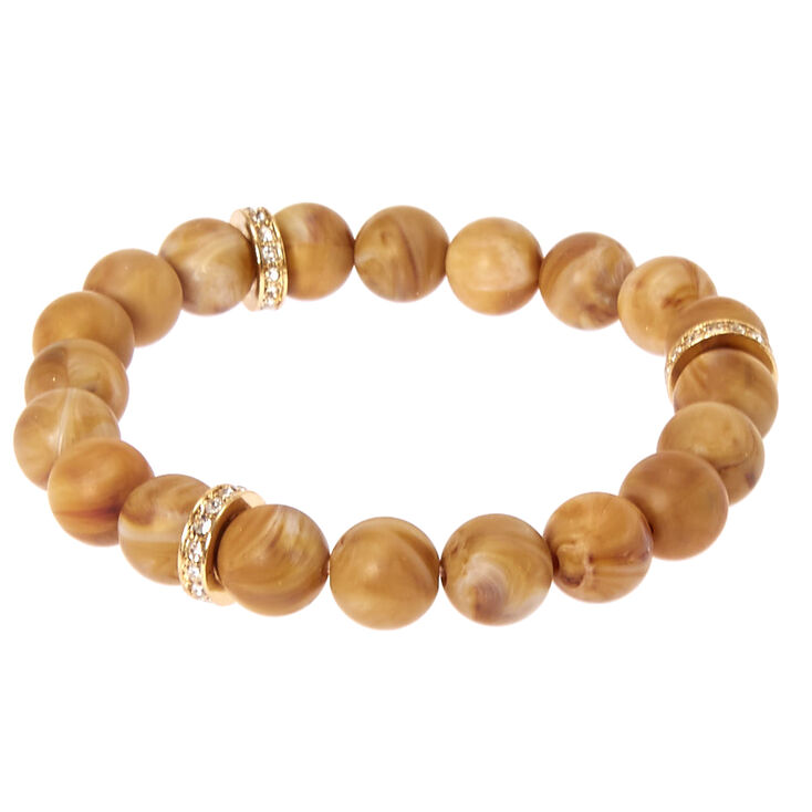 Brown Beaded Stretch Karma Bracelet,