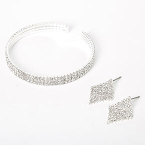 Silver Rhinestone Bracelet & Earrings Jewelry Set - 2 Pack,