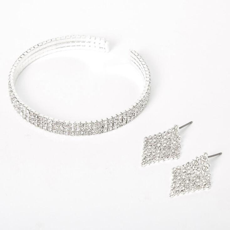 Silver Rhinestone Bracelet & Earrings Jewelry Set - 2 Pack,