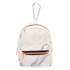 Marble Mini Backpack Keychain - White,