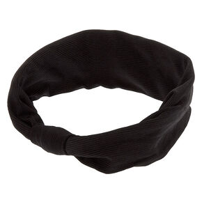 Wide Knotted Headwrap - Black,