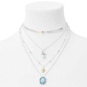 Silver Chevron Multi Strand Pendant Necklace - Blue,