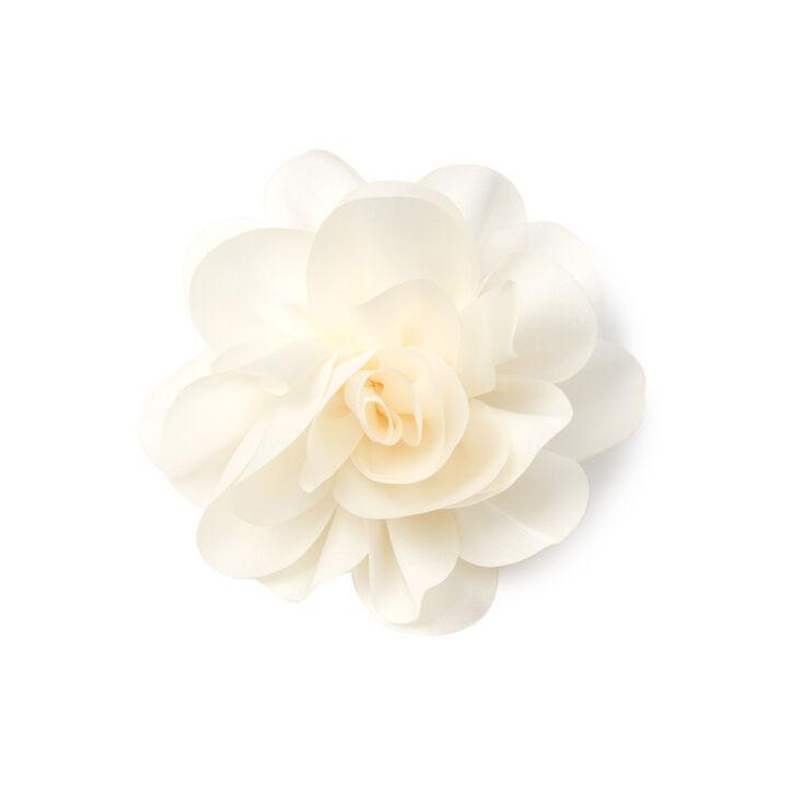 Satin Peony Flower Hair Clip - White,