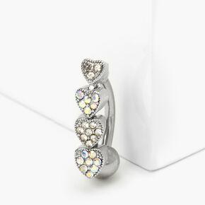 Silver 14G Aurora Borealis Crystal Heart Belly Ring,