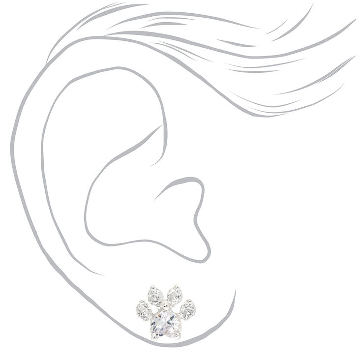 Silver Cubic Zirconia Paw Print Stud Earrings - 10MM,