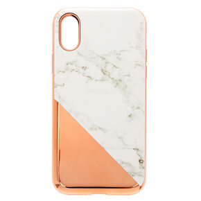 Rose Gold Marble Protective Phone Case - Fits iPhone X/XS,
