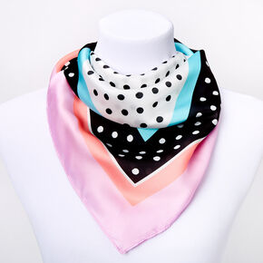 Square Artsy Polka Dot Satin Fashion Scarf - Purple,