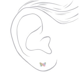 Sterling Silver Swarovski® Pastel Crystal Butterfly Stud Earrings,