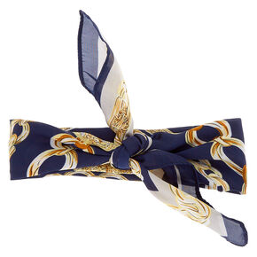 Bandana Chain Print Headwrap - Navy,