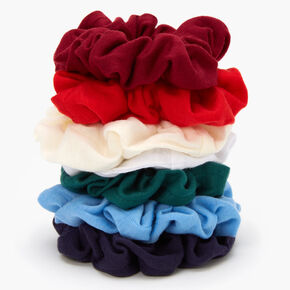 Reds & Blues Solid Hair Scrunchies - 7 Pack,