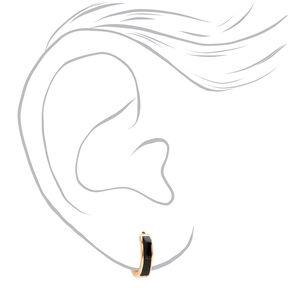 Gold 10MM Huggie Hoop Earrings - Black,