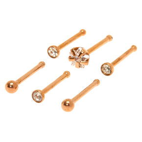 Rose Gold 20G Crystal Star Nose Studs - 6 Pack,
