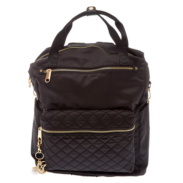 Quilted Double Handle Medium Backpack - Black,