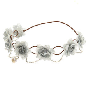 Silver Flowers & Chains Flower Crown Headwrap,