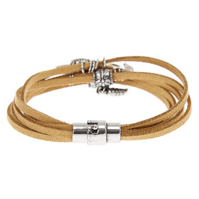 Silver Tree Of Life Wrap Bracelet - Brown,