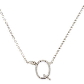 Silver Initial Necklace - Q,