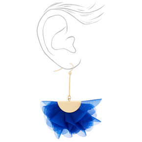 "2.5"" Chiffon Fan Drop Earrings - Blue,"