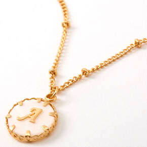 Gold Shell Initial Pendant Necklace - A,