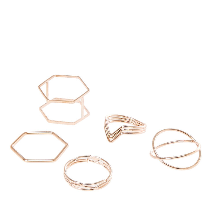 Multi Size Geometric Rose Gold Toned Ring Pack,