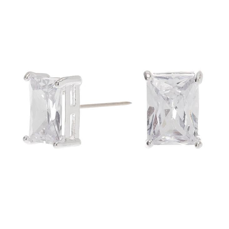 Silver Cubic Zirconia Rectangle Stud Earrings - 8MM,
