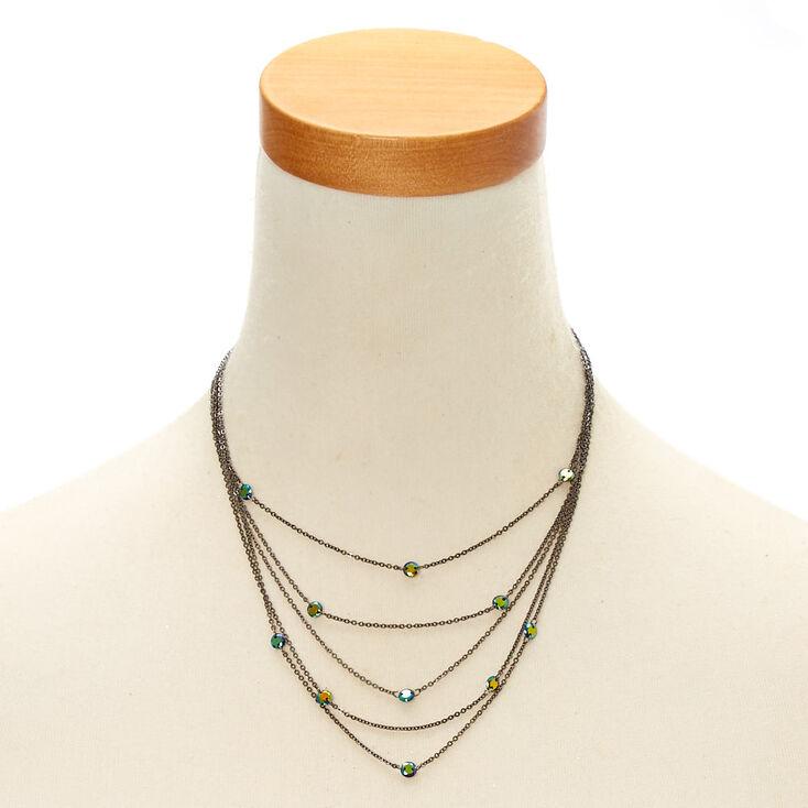 Black Finish Cubic Zirconia Multi-Layered Necklace,