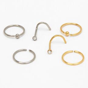 Mixed Metal Titanium 20G Nose Rings & Studs - 6 Pack,