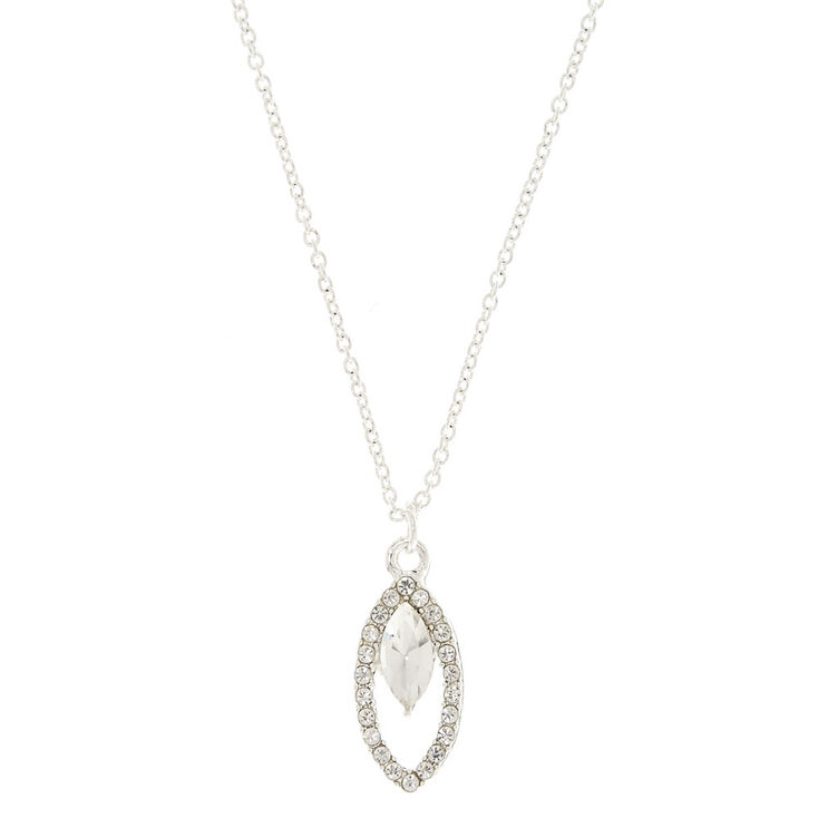 Crystal Leaf Pendant Necklace,