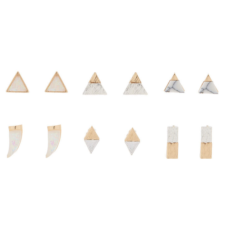 Mixed Metal Holographic Stud Earrings - 6 Pack,