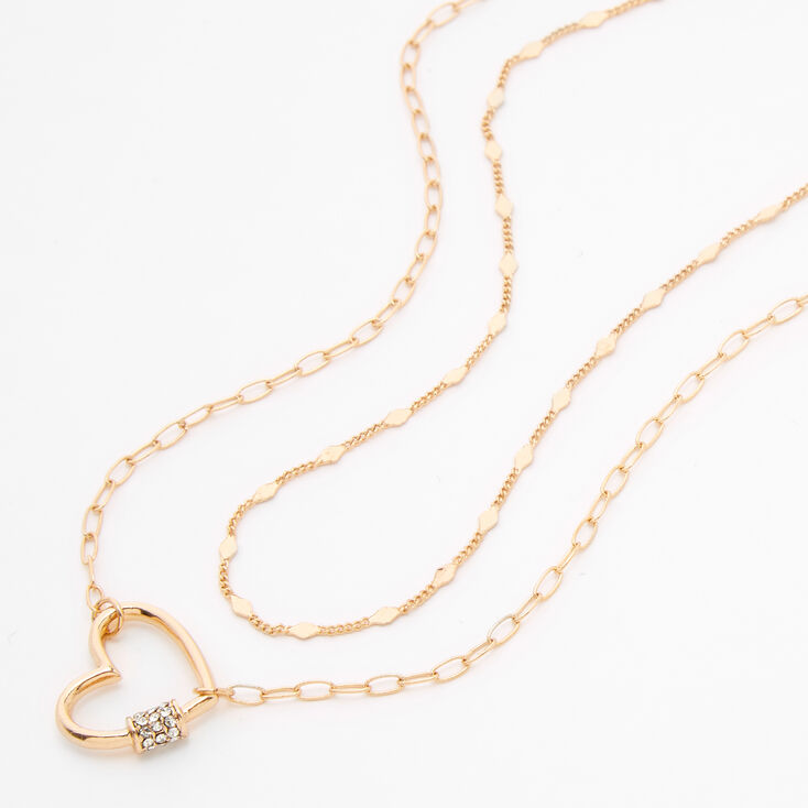 Gold Open Heart Multi Strand Necklace,