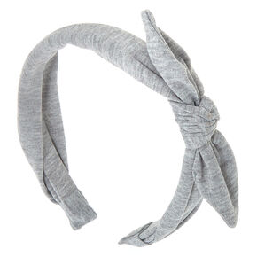 Solid Knotted Bow Headband - Light Gray,
