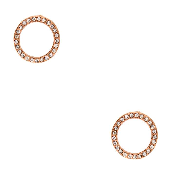 Rose Gold-Tone Open Circle Earrings,