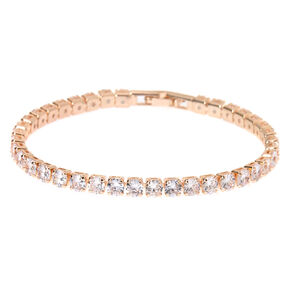 Rose Gold Rhinestone Chain Tennis Bracelet,