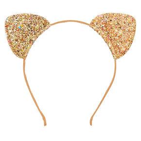 Iridescent Glitter Cat Ears Headband - Gold,
