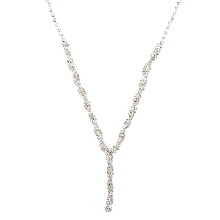 Silver Rhinestone Twist Statement Necklace,