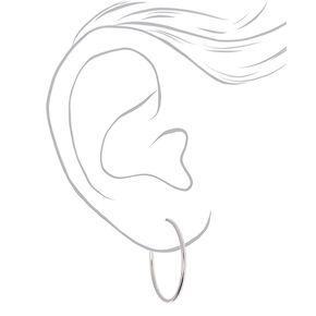 Silver 40MM Clip On Hoop Earrings,