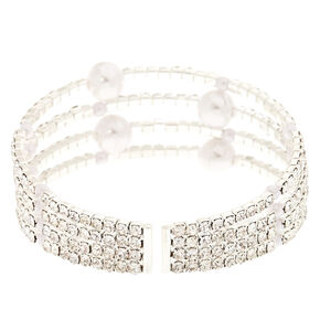 Silver Faux Pearl And Crystal Bracelet Cuff,