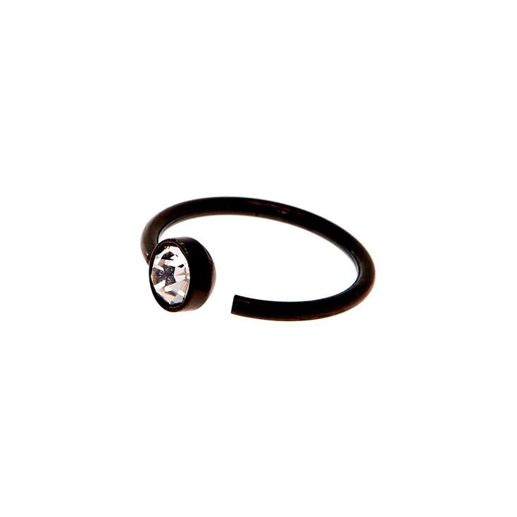 Black 20G Embellished Nose Ring,