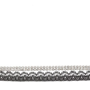 Crystals & Lace Choker in Black,